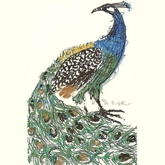 The Peacock, Gocco Screen Print