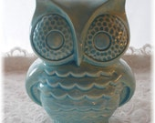 Owl Bank Aqua Owl Home Decor Ceramic Bank Vintage  in Aqua
