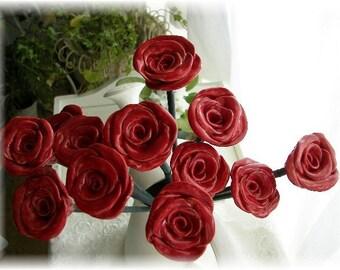 Roses Red Roses Ceramic Roses on  Bamboo Stems 1 dozen
