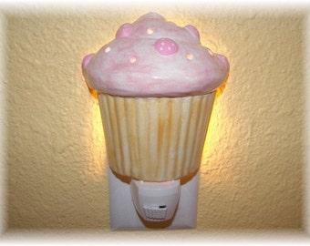 Cupcake Night Light Wallmount Cupcake Decor Cupcake Design in Pink Bakery Decor Nursery Decor Nightlight Dessert Gift