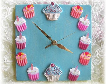 Cupcake Clock in Bright Blue and Pinks