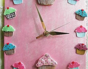 Cupcake Ceramic Clock in Pinks and Blues