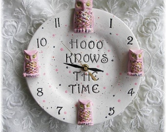 "Owl Clock Ceramic Round 8"" with Pink Owls Nursery Decor Available your colors  Also"