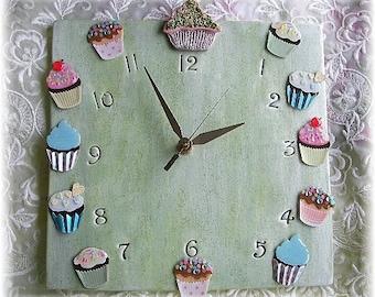 Cupcake Ceramic Clock Design Kitchen Clock Bakery Decor Baker Gift In Soft Pearl Green