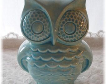 Owl Bank Aqua Owl Home Decor Ceramic Bank Vintage in Aqua Nursery Decor Home Decor