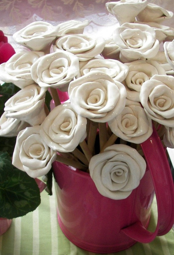 Ceramic Roses Bouquet Alternative Ceramic Hand made Roses on stem Home Decor price is for one Birthday gift Housewarming
