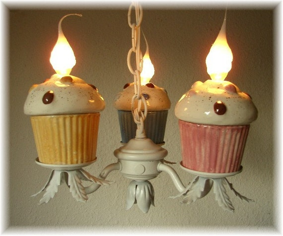 Cupcake Chandelier 3 Cupcakes Pink Blue  and Tan