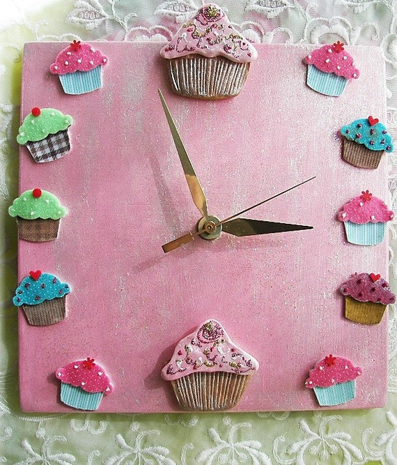 Cupcake Clock Design Ceramic Cupcake Design in Pinks and Blues Bakery Decor Nursery Decor Kitchen Clock Unique Gift for a Baker