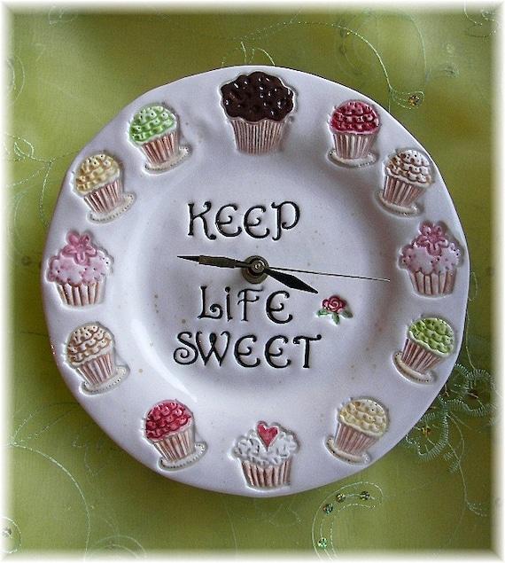 Home Decor Ceramic Clock Cupcake design Bakery Decor  Dessert Art Keep Life Sweet