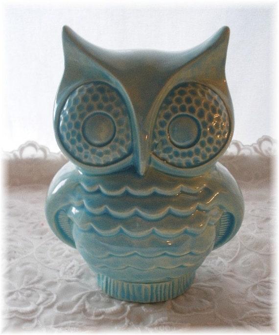 Items Similar To Owl Bank Aqua Owl Home Decor Ceramic Bank