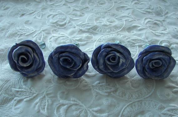 Dark Lavender Rose Knobs Drawer pulls   Set of Four
