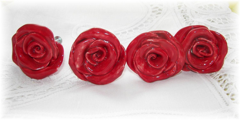 Red Rose Knobs Home Decor Drawer Pulls Set Of 4