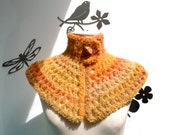 Yellow Crochet Neckwarmer - Mustard Capelet - Women's Cape - SWEET CORN