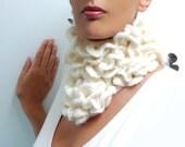 Crochet Ruffled Scarf - White Bohemian Scarflette - Romantic Neckwarmer - LITTLE PIERROT (extra long)