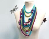 Knitted Scarf Necklace - Infinity Scarflette - Loop Neckwarmer - Turquoise Lime Green Purple Plum - Handmade - LOOPY LOOP