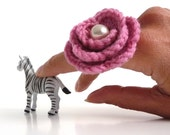 Adjustable Ring - Crochet Pink Flower - Handmade Jewelry - WINTER ROSE