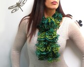 Ruffle Scarf Hand Knitted - Green Bohemian Scarflette - Olive Moss Emerald Bottle Green Romantic Neckwarmer