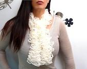 Hand Knit Ruffled Scarf - White Bohemian Scarflette Neckwarmer