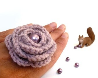 Crochet Flower Ring Dusty Pink Adjustable Handmade - WINTER ROSE