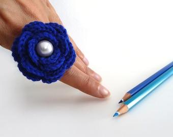 Crochet Flower Adjustable Ring, Electric Blue, Handmade - WINTER ROSE