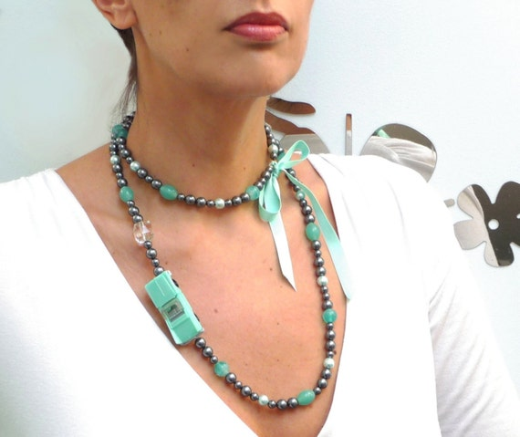 Long Strand Necklace - Grey Pearls and Green Glass Beads with Vintage Car - MY OLD CAR