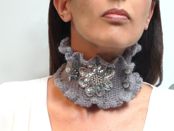 Crochet Grey Neckwarmer - Lux Choker Collar with Silver Sequin Flower and Filigree Beads - SILVER ASH