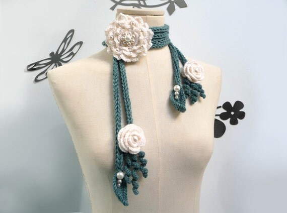 Crochet Lariat Scarf - Green Leaves and White Flowers with Glass Pearls - PEONY
