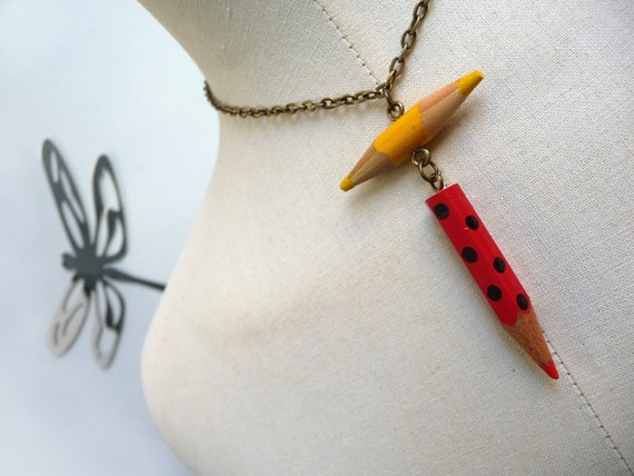 Color Pencil Necklace with brass chain - Red Yellow Crayons