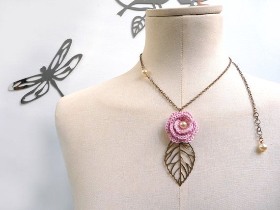 RESERVED - Crochet Flower Necklace with Brass Chain and Leaf - Pastel Pink Rose