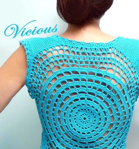 Crochet and Knit Turquoise Blue Cotton Tank Top - Spring / Summer Vest with Lace Back - VICIOUS CIRCLE