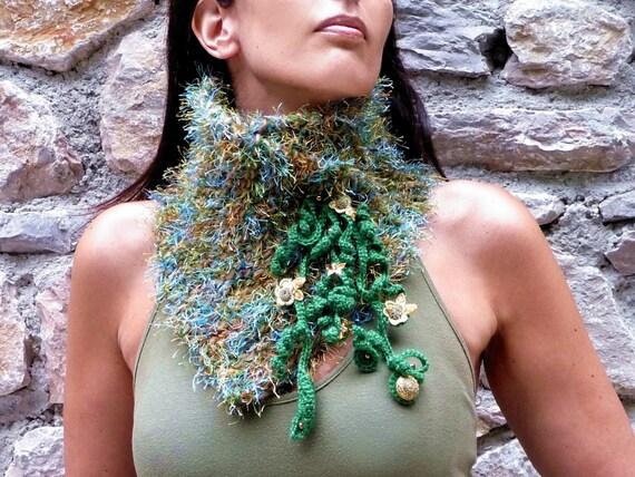Knit Scarf , Fuzzy Green Neckwarmer / Scarfette - MUSKY FOX