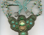 Queen of the Nile Bead Embroidered Necklace-Turquoise, Vintage Glass Scarab - on Reserve for gmiclea
