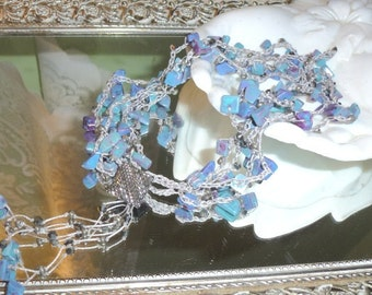Turquoise Gemstone Chunks are Aqua and Lavender in Bead Crochet Necklace Strands with Vintage Button Closure