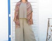 Sleeveless Brown Batik Vest / Drape: Daimyo