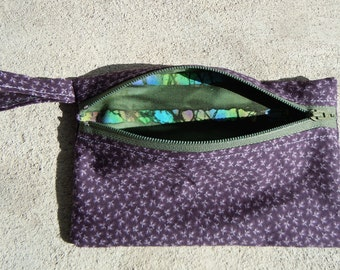 Unique Purple Tie Dye Zipper Pouch