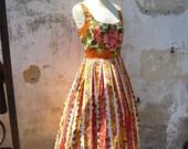 Vintage Pinafore Floral dress size S
