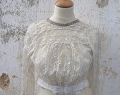 RESERVERD TO Caroline Anne Marie Oakley  Victorian 1850s/1900s embroidered net and lace blouse size XXS