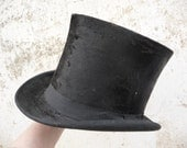 Antique french men Top Hat  Beaver fur circa 1860s/1900s victorian from  London