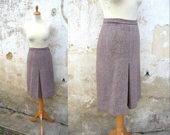 1970s tweed  flat pleat  middle lenght skirt size M