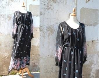 Vintage 1970/70s Chiffon dress maxi dress floral size L