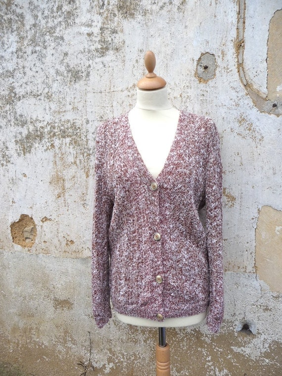 Vintage 1970s handknitted  heathered cardigan size S/M