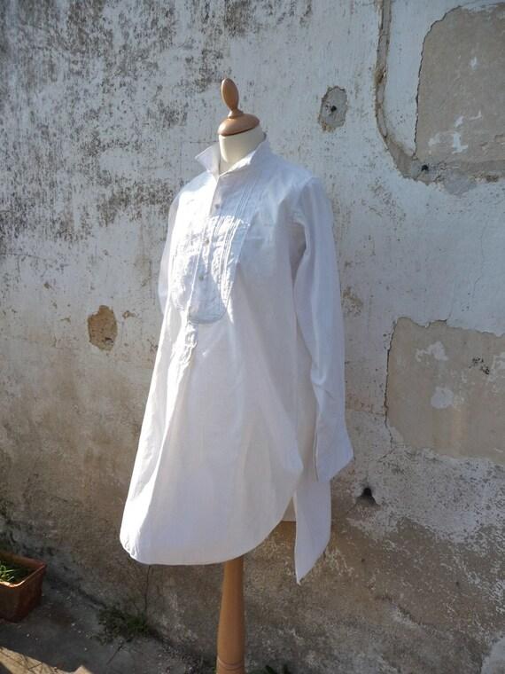 Vintage 1900s french long  cotton  Men Shirt  size M