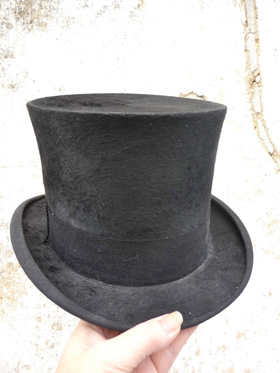 Antique french men Top Hat Beaver fur circa 1860s/1900s victorian from La Rochelle