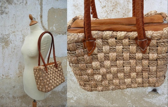 1970s straw and leather bag basket braided ethnic