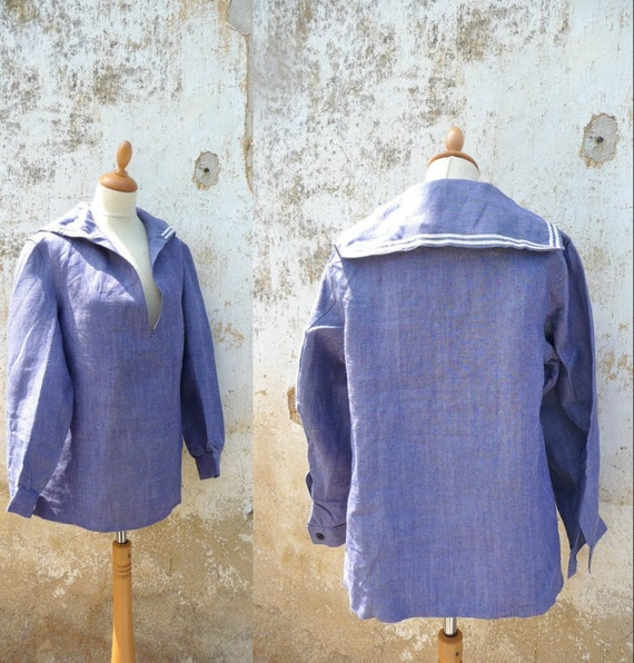 1950 Nautical Shirt Jacket Authentic French Army Navy Sailor