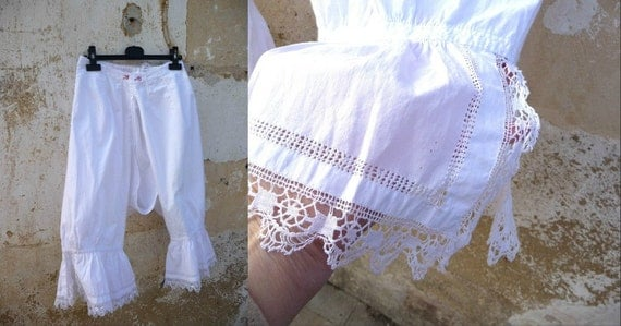1900s Victorian French bloomers with handmade cotton lace and open work finishings