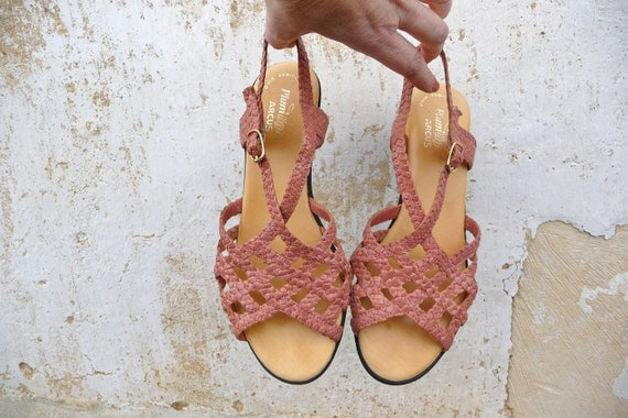1980 braided shoes tea rose leather sandals