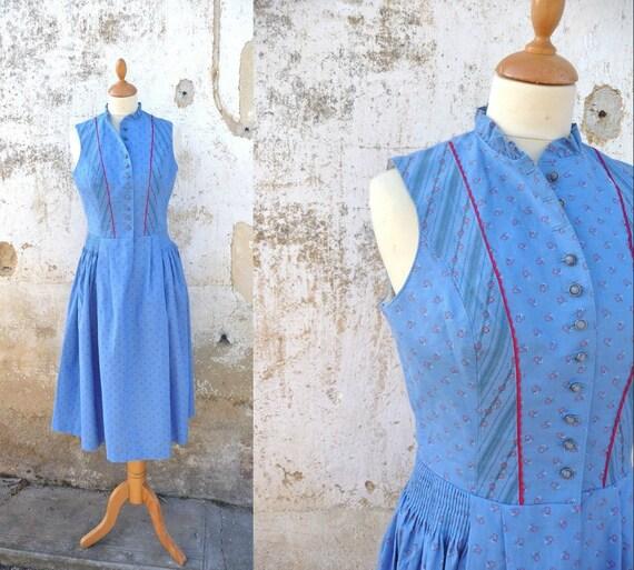 Reserverd reserverd reserverd   Austria Dirndl 1970s dirndl folk Prairie dress soft blue tiny floral calico size  S
