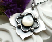 Lovely Whimsical Necklace in Sterling Silver and Mother of Pearl - Handcrafted- Fairy Garden