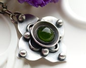 RESERVED - Peridot and Sterling Silver Necklace - Handcrafted -  Fairy Garden